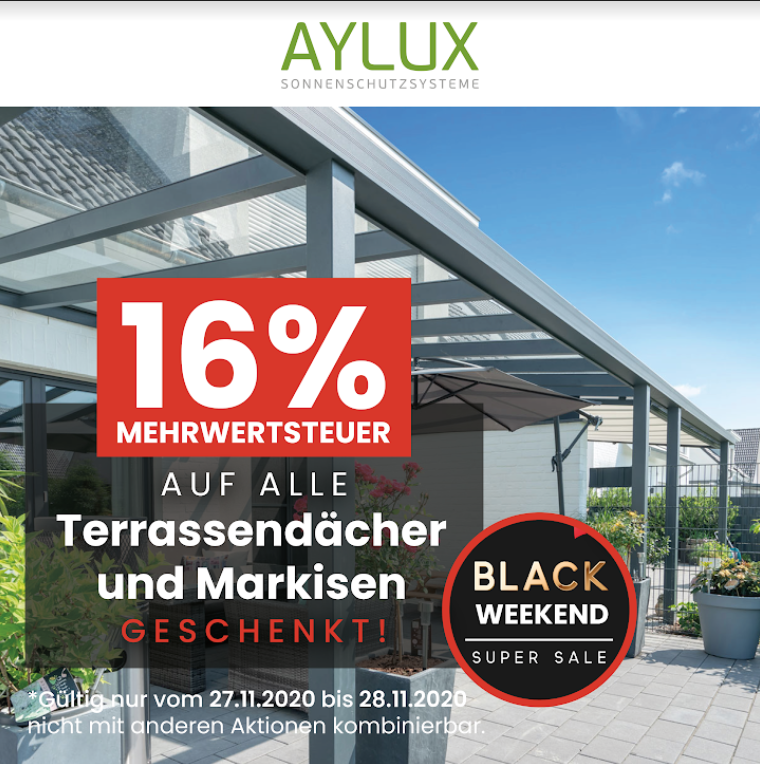 Black Weekend Sale Angebote Terrassenüberdachungen Markisen.
